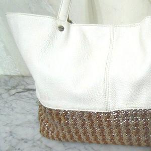 Deux Lux Purse Handbag Silver & Beige Straw Woven